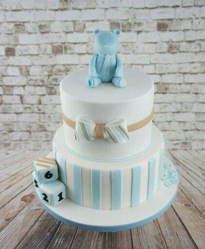 En flot blå babyshower kage inspireret af en Ralph Lauren bamse :)
