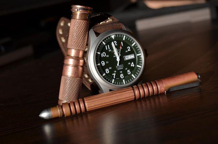 Copper Hinderer Investigator Pen, Copper Maratac Flashlight and Seiko 5