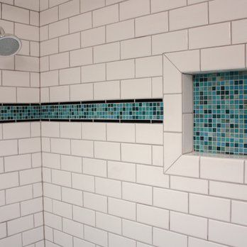 Subway Tile Shower With Accent Strip And Soap Niche Yelp