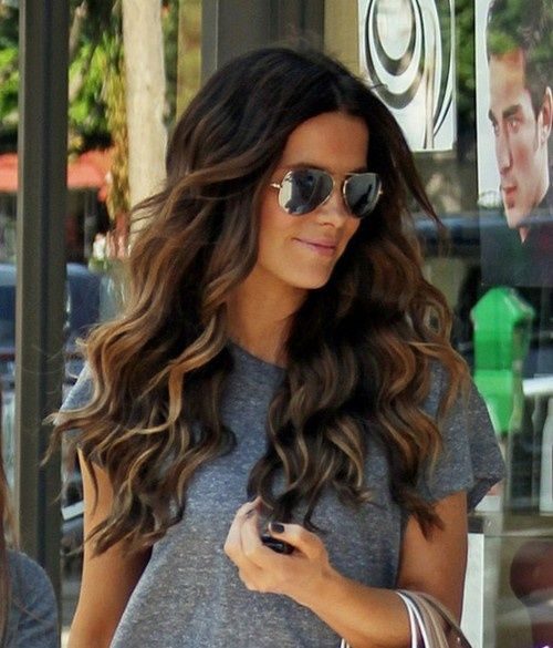 How can I get these waves? Love the color too!! peekaboo highlights on long dark hair : Women Hairstylesdark brown hair with peek a boo highlights | Fashion and Mode Today