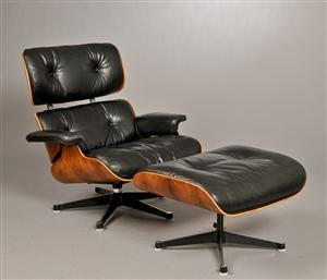 Lauritz.com - Moderna bord och stolar - Charles Eames. Lounge Chair med fodskammel. Rio Palisander (2) - DK, Herlev, Dynamovej
