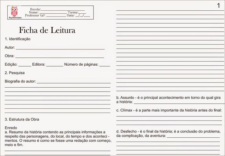 Infantividades: Ficha de Leitura