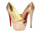 "CH Christian Louboutin ""Her Highness"" Peach Daffodile Crystal Pumps"