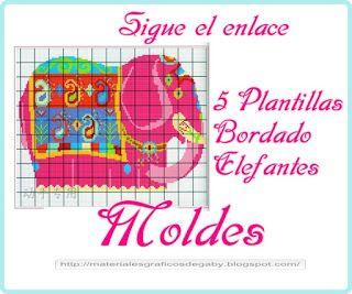 Materiales gráficos Gaby: 5 Plantillas de bordados para realizar elefantes