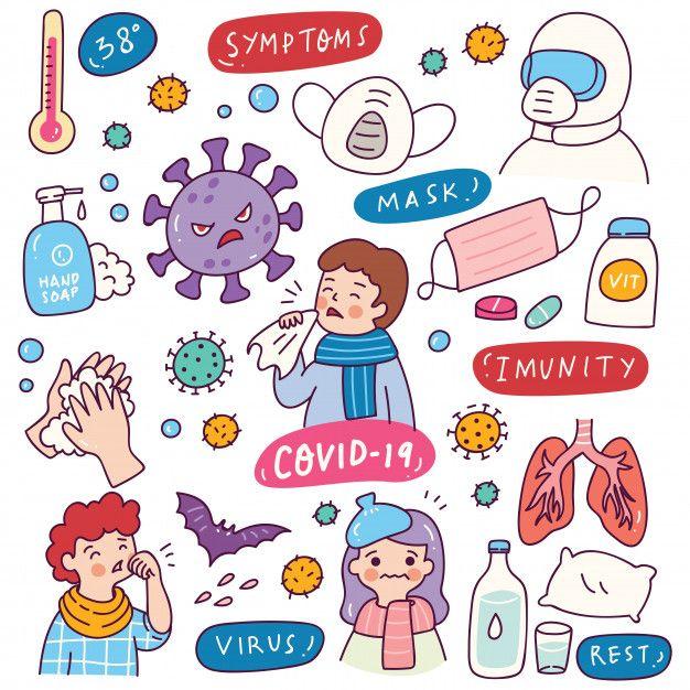 Corona virus doodle element | Premium Vector #Freepik #vector #hand #cartoon #hands #health