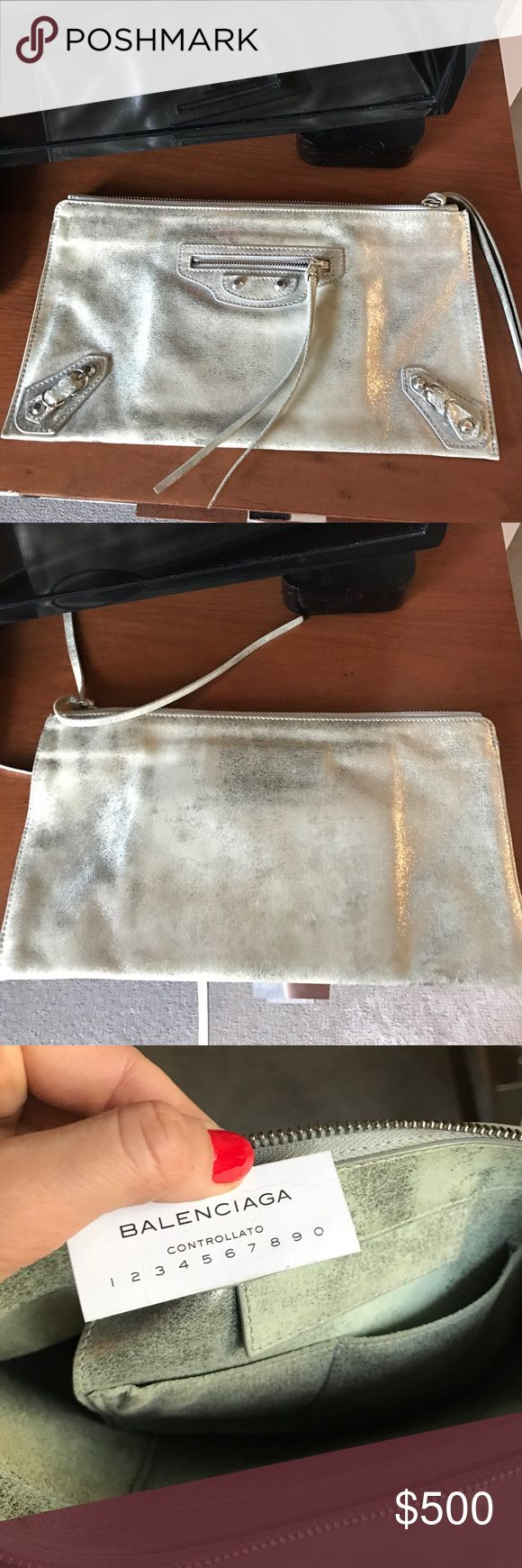 Balenciaga Clutch Silver and shimmery. Easy evening bag. Goes with everything. Excellent condition. Comes with dust bag. No trade. Balenciaga Bags Clutches & Wristlets