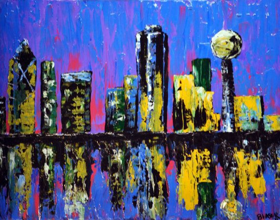 Dallas Texas Print Of Original Painting Wall Art Home Decor Picture 8x10 Or 11x14 Jeddah Home