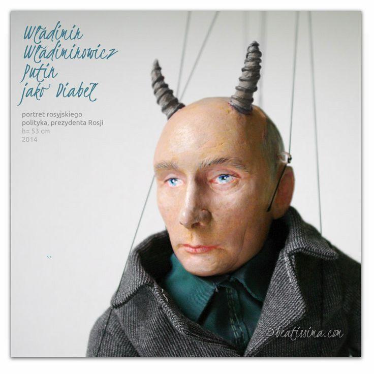 Lalka artystyczna, lalka portretowa, portret rosyjskiego prezydenta Putina jako diabła autorstwa Bei Ihnatowicz.  A unique art doll of Vladimir Putin as a Devil!