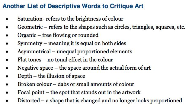 Descriptive words for an art critique