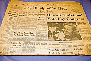 1959 Washington Post Hawaii Statehood Voted By Congress