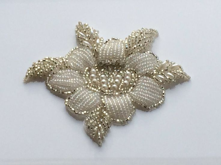 Rose Bridal Motif Silver Crystal Clear Rhinestone Applique w/ Pearls DIY