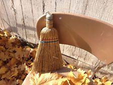 Vtg Rustic Whisk Broom Farmhouse Primitive Old Corn Straw Cobweb Duster Decor