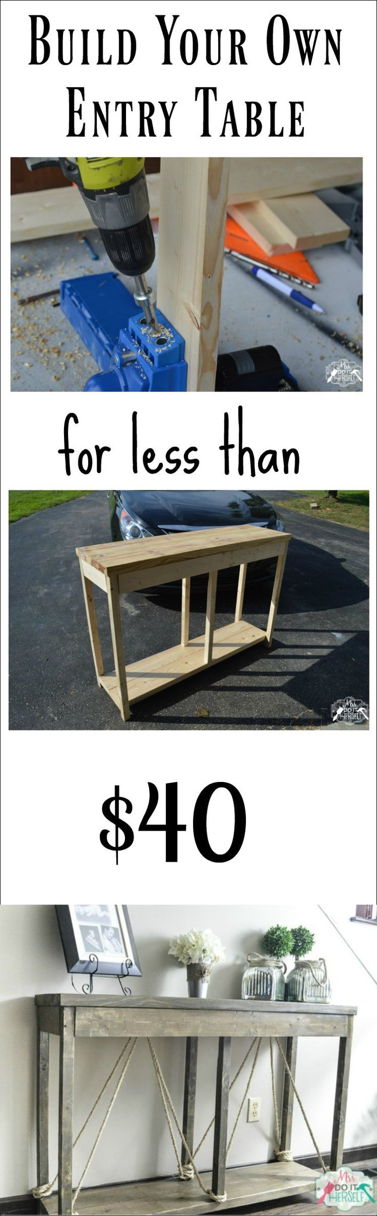 Build your own entry console table for less than $40 -- I really like the rope accents on this rustic style table!