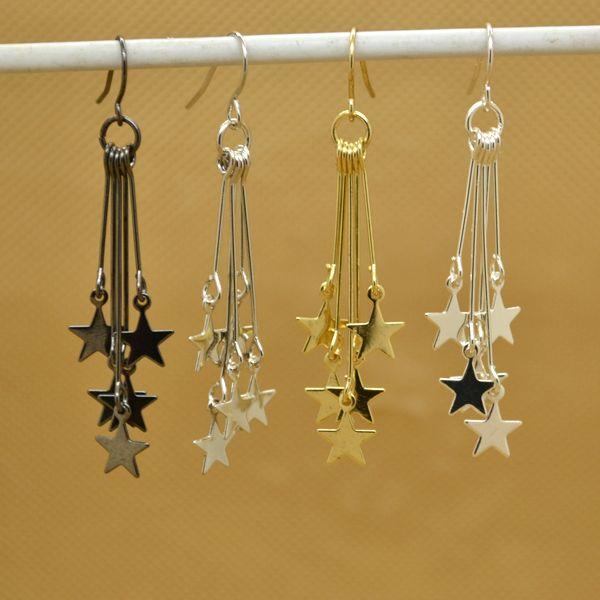 [$5 Minimum] Women Fashion Dangle Stars Golden/Black/Silver Earring Pretty Girls Lady ZMP Wholesale Lots Free Shipping
