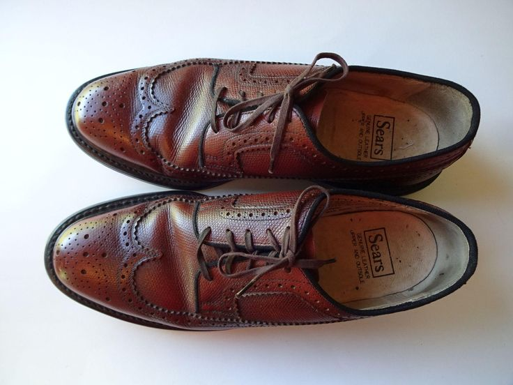 Mens Wingtip Shoes Vintage 1970s Sears Brown Leather 9D  $50  https://www.rubylane.com/item/676693-A17-156/Mens-Wingtip-Shoes-Vintage-1970s-Sears?search=1