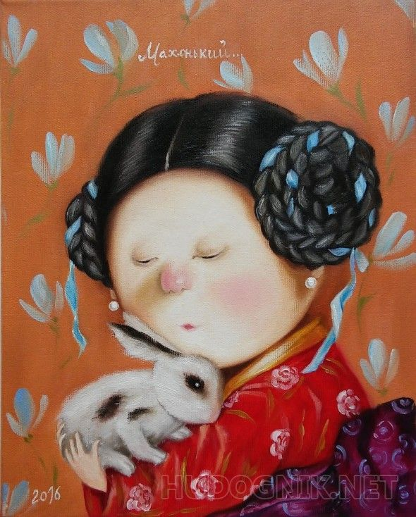 """Вольная копия картины Е. Гапчинской """"Махонький..."""" Картина """"Махонький..."""".. Работа выполнена по картине известной украинской художницы Евгении Гапчинской.    Сложно удержаться от улыбки, глядя на эти картины. Они вызывают самые теплые, самые позитивные эмоции. Такой маленький комочек пушистого счастья на руках прелестной девочки - чудо!    Картина замечательно впишется в интерьер столовой или гостиной комнаты, в детскую.    Картина выполнена маслом на холсте на подрамнике. Полностью ручная…"""