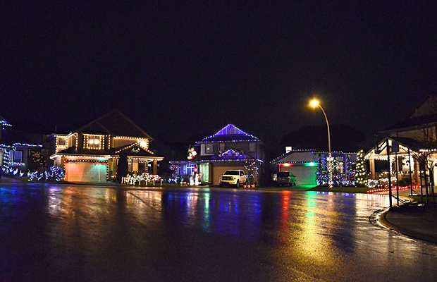 Every home on the cul de sac at 69A Avenue and 201st Street is decorated.