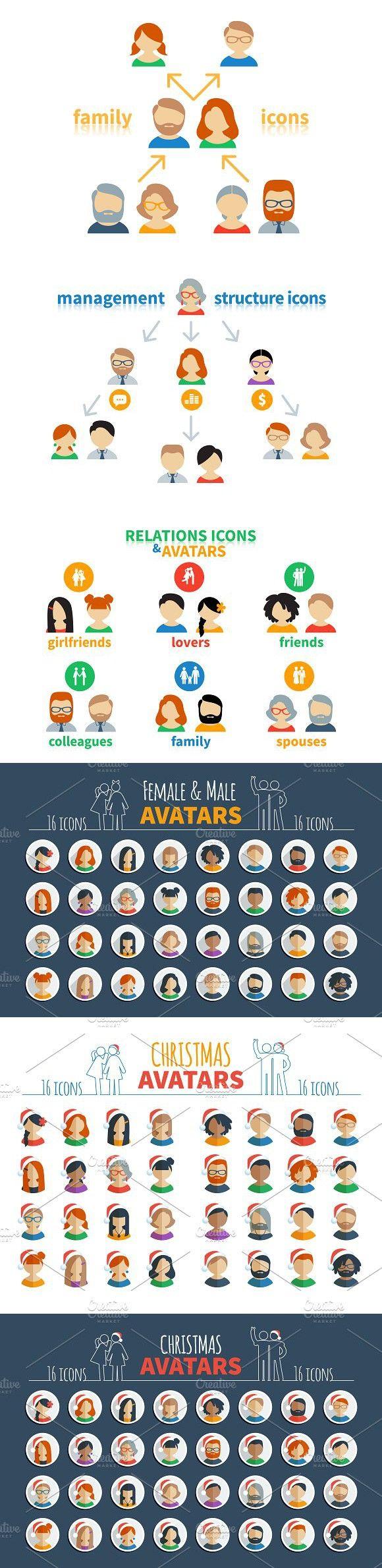 Male and female avatars   Xmas bonus. Graphic Design Infographics #network #friend