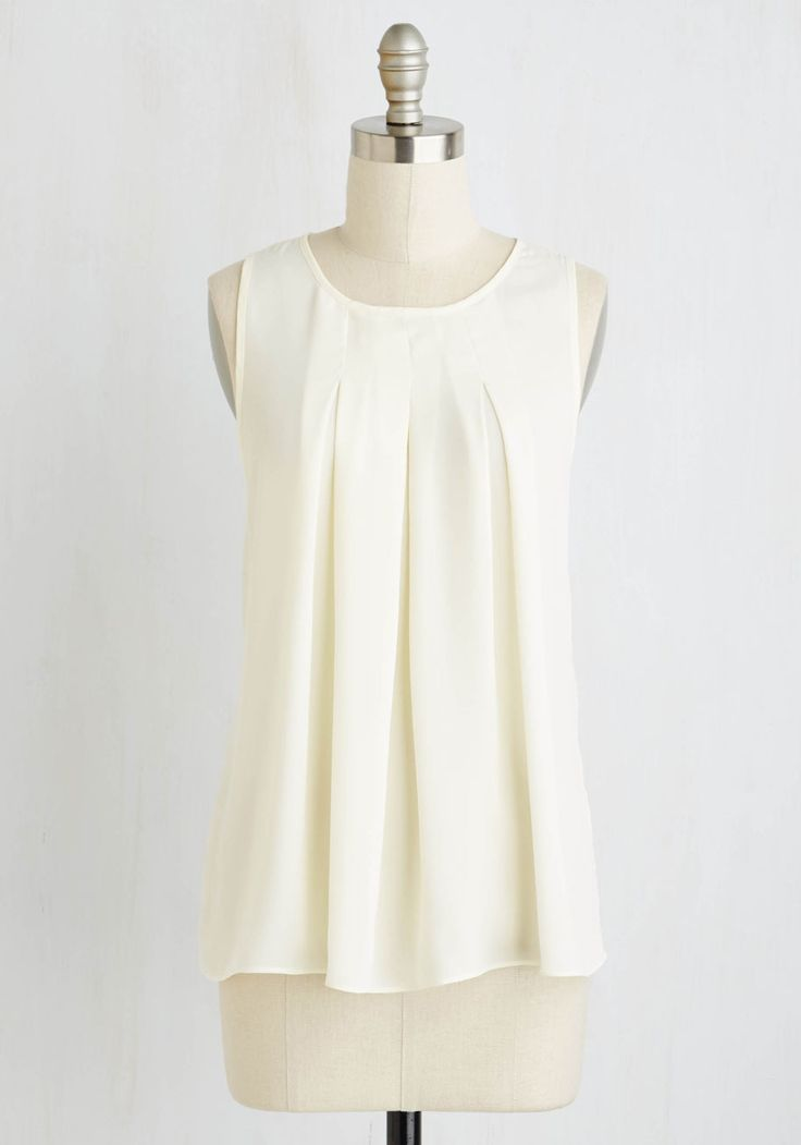 Steadfast Class Top in Ivory. A sleeveless blouse this sophisticated is naturally your go-to for a polished appearance time and time again! #cream #modcloth
