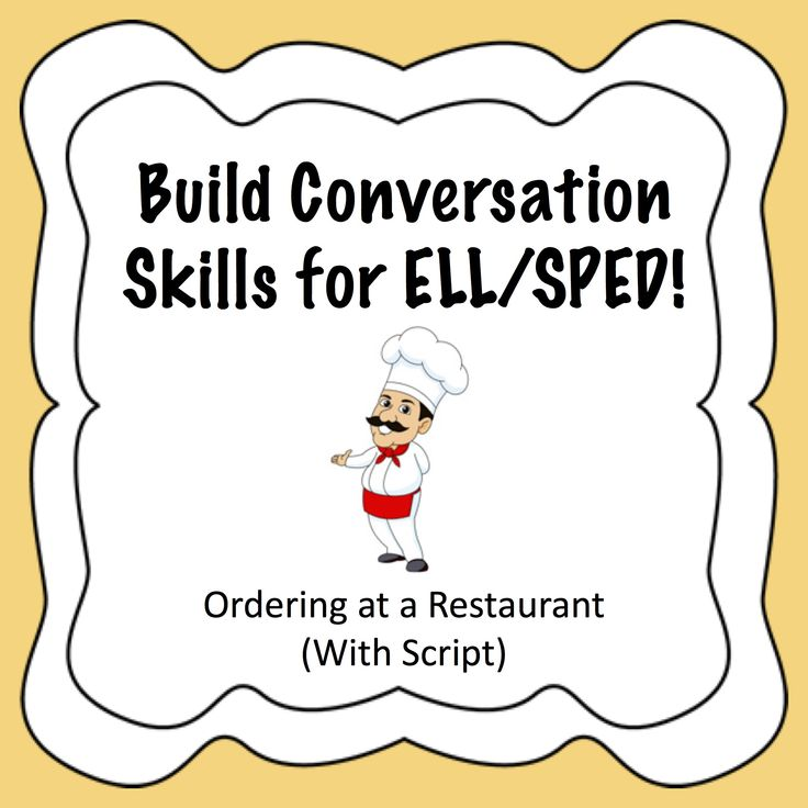This is an easy-to-use activity for teachers to use to help both SPED and ELL students to build their conversation skills. This activity includes three menus and a short script for students to use in order to play the part of a waiter or a restaurant patron. This is also helpful for students who may have difficulty ordering from a menu and making a decision. The script is very short but allows for students to be able to adlib if necessary with relevant information.