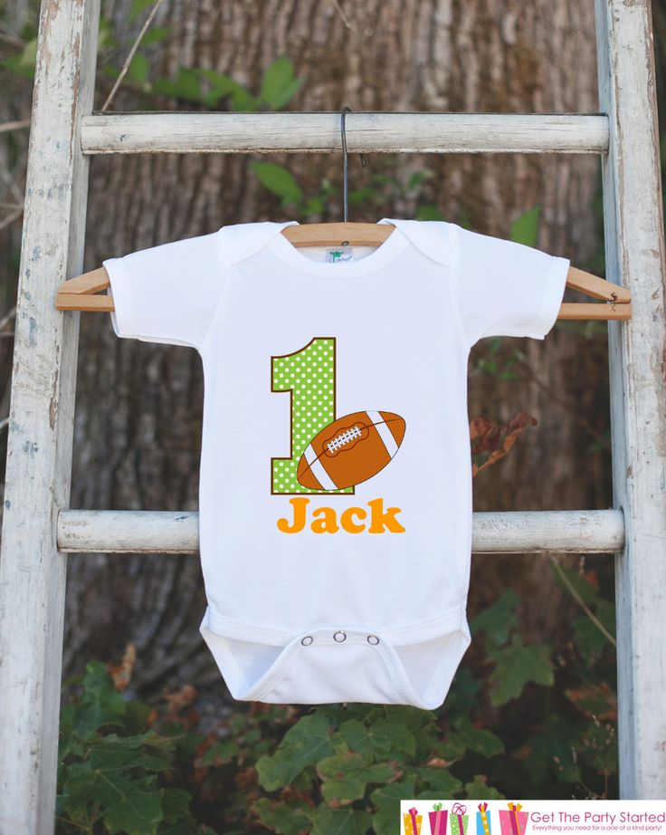 First Birthday Football Outfit - Personalized Bodysuit For Boy's 1st Birthday Party - Football Bodysuit Birthday Outfit With Name & Age