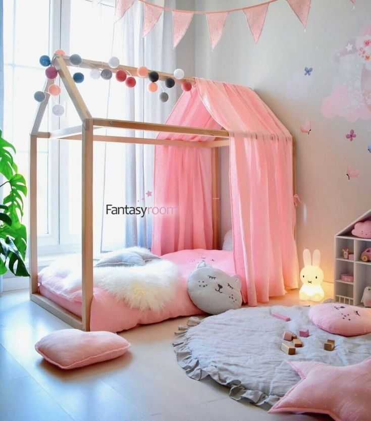 Cool aesthetic toddlers room ideas girl in a trendy Montessori style. Grey walls…