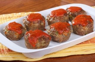 Pork and apple mini meatloaf....delicious!!!  I use unsweetened apple sauce (don't put it in the oven with it) instead of the sauce...