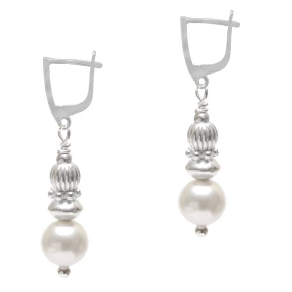 Amorette Pearl Earrings - Absolutely enchanting sterling silver and Swarovski pearl earrings.  A flawless 6mm crystal white Swarovski pearl is enhanced with bright shiny sterling silver beads and finished with a dainty sterling silver leverback earring hook.  Amorette are so dainty, a perfect design for First Holy Communion or Confirmation. Also perfect for the romantic bride or special occasions.