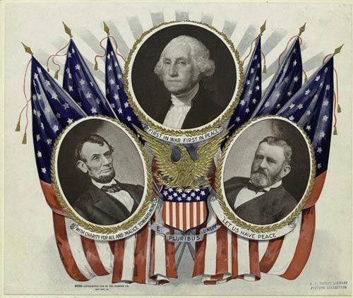 Portraits of presidents Lincoln, Washington, and Grant ...