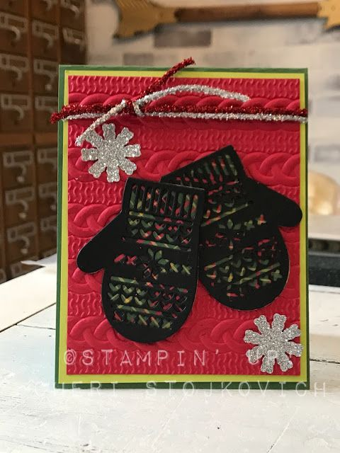 Cheri's Cards: Smitten Mittens wrapped up in Cable Knit Folder (which will be on sale!) + BABY BEAR GIVEAWAY!