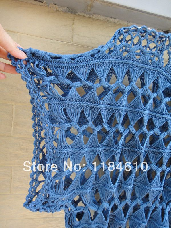 Summer Tunic Tops Sheer Blouses Lace blusas femininas Cube Sleeve Hairpin Crochet Pattern Denim Blue
