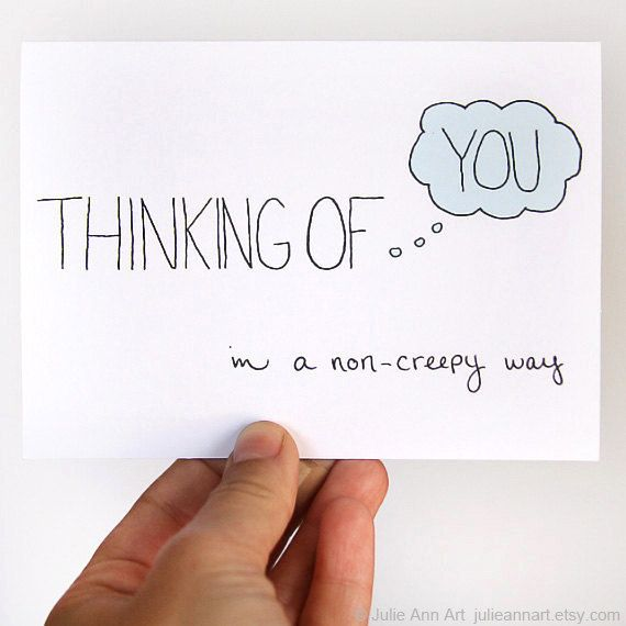 Thinking Of You Card. In A NonCreepy Way. Light by JulieAnnArt, $4.00