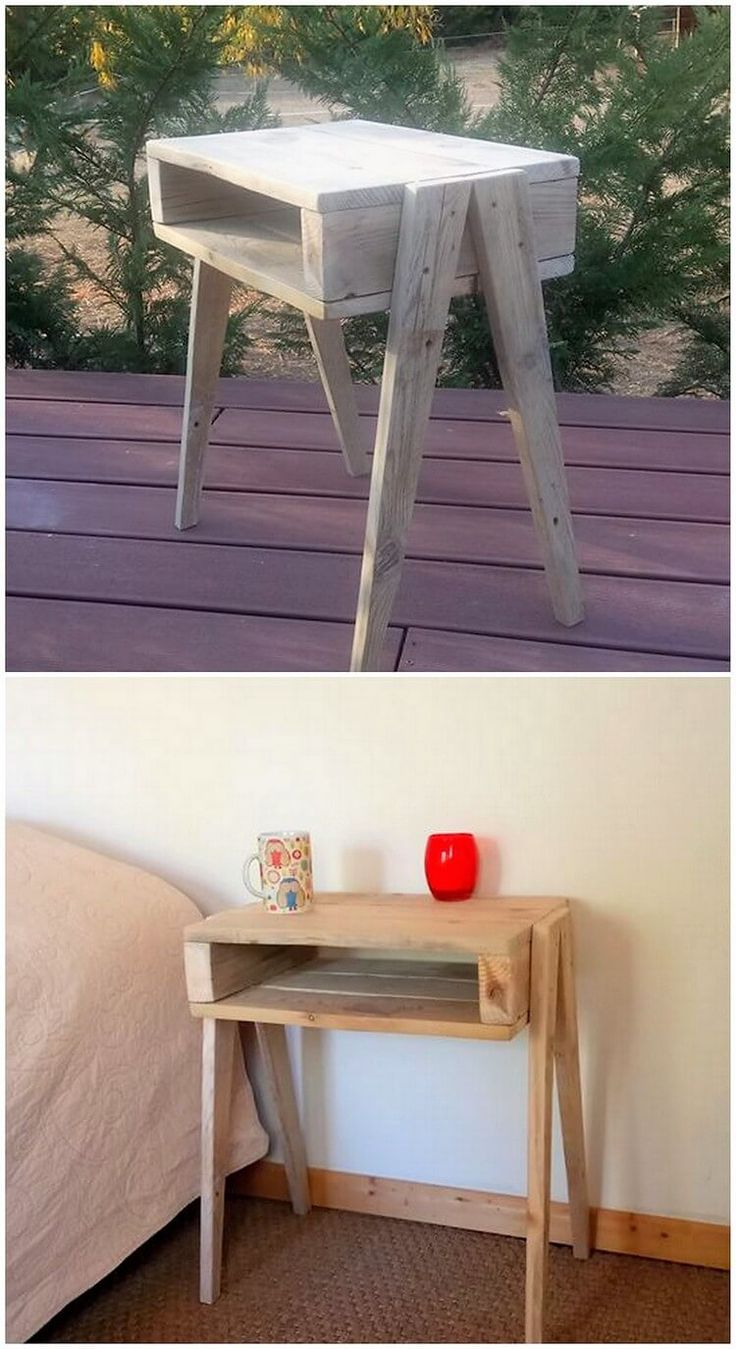 Side table amazing ideal creation of the pallet is bringing about here that will look so perfect placing it one corner of the house. This pallet is being adjusted with the combined functional use of the drawer single area too that make it look so much WOW!
