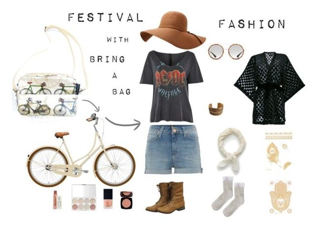 """""""Festival Fashion - Stylish Cyclist"""" by bringabag on Polyvore featuring Lee, Gucci, J.Crew, Topshop, iiL7, NARS Cosmetics, Kiehl's, Avon and Chanel"""