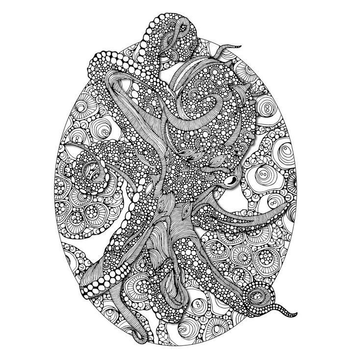 octopus bloom mandala colorme decalvalentina harper