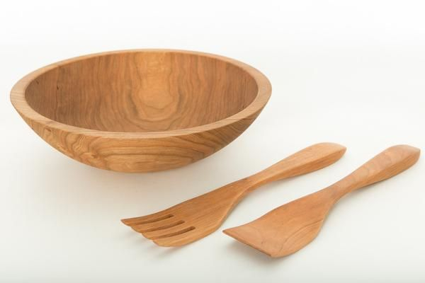 Large wooden salad bowl sets the standard for US made wood bowls. Solid Cherry bowl is a go to for restaurants and anyone who loves sharing salad. Free shipping.