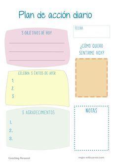 Plan de acción diario para que cada día sea genial. #plantilla #agenda #imprimible #organizador