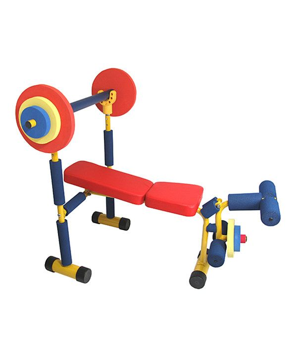 Weight Bench Set for toddlers and kids by Redmon. Lol! Children can exercise like mom and dad. This is so cute! Home baby gym equipment just like grown up stuff (diy Gymboree gym!)