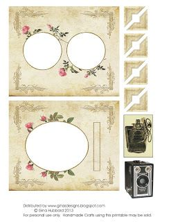 Vintage Photo Album Page freebies for making cards, tags, and collages