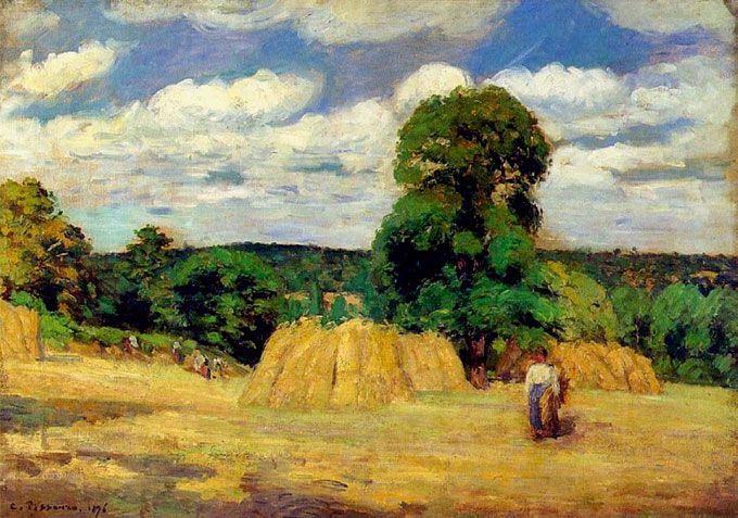 Камиль Писсарро. «Жатва близ Монфуко». 1876 г.