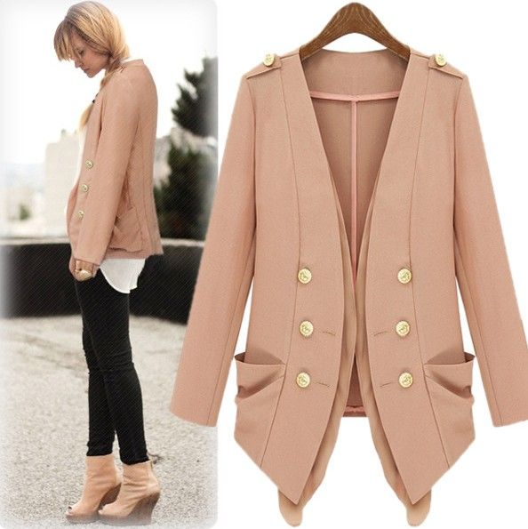 Fashion Long Sleeves Double-breasted Pink Polyester Trench