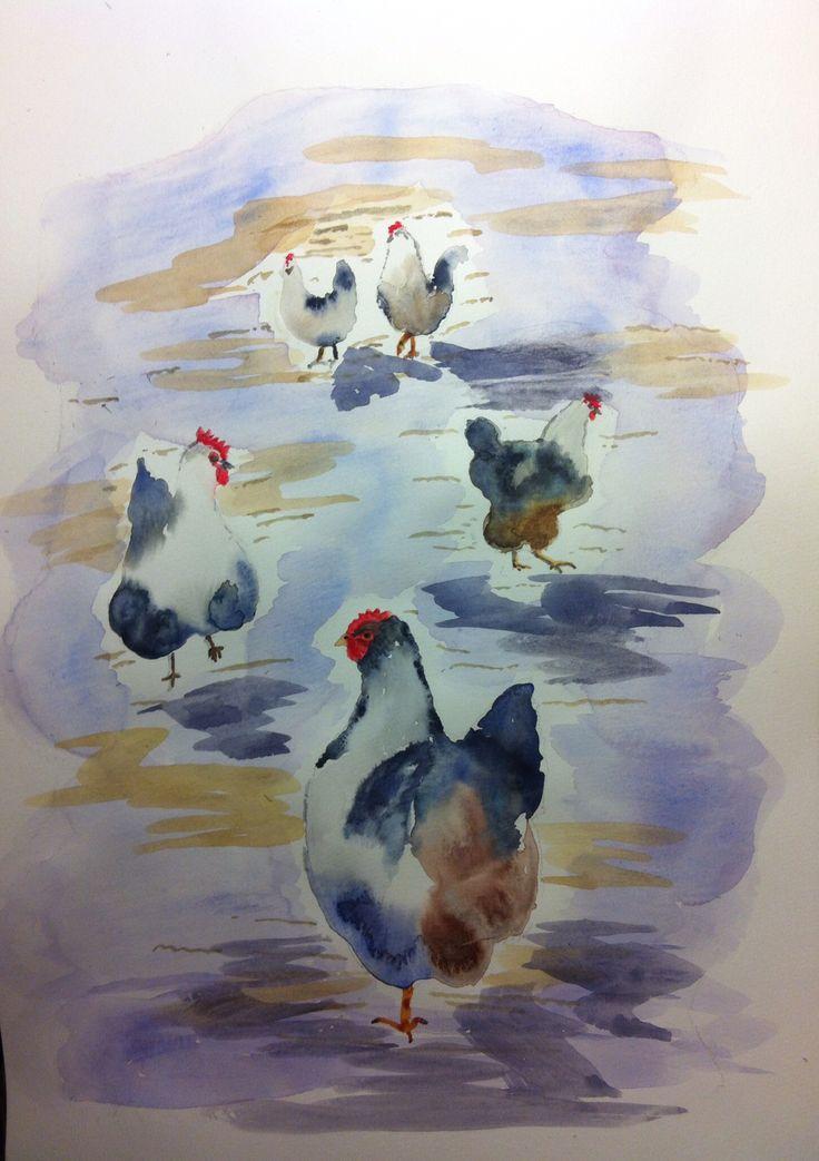 Blue hens - watercolour