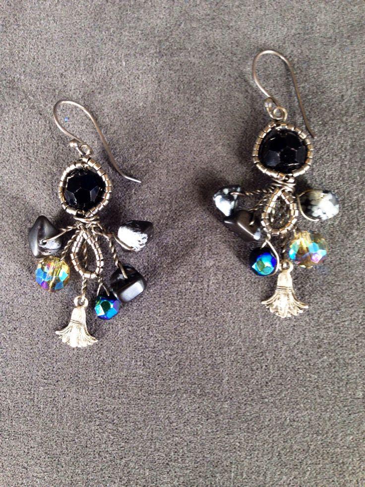 Dark Diva Black and Grey Onyx Rainbow Lustre Chandelier Earrings, Elegant Sterling Silver Twisted Wire Earings by TrinesTreasures on Etsy