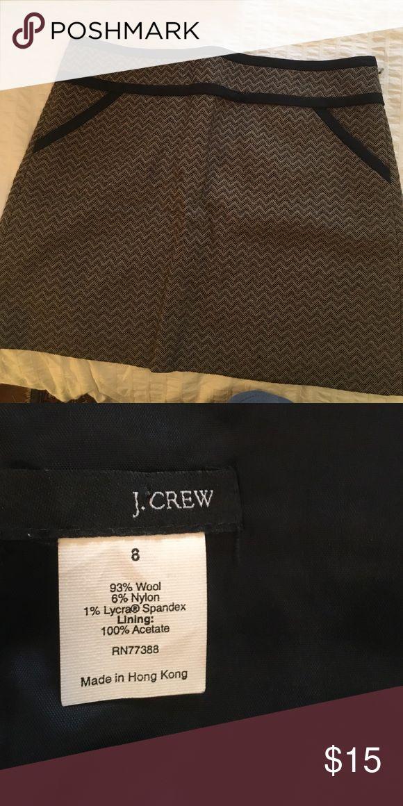 J Crew mini skirt Size 8 black and brown skirt with full lining. Wool j crew Skirts Mini