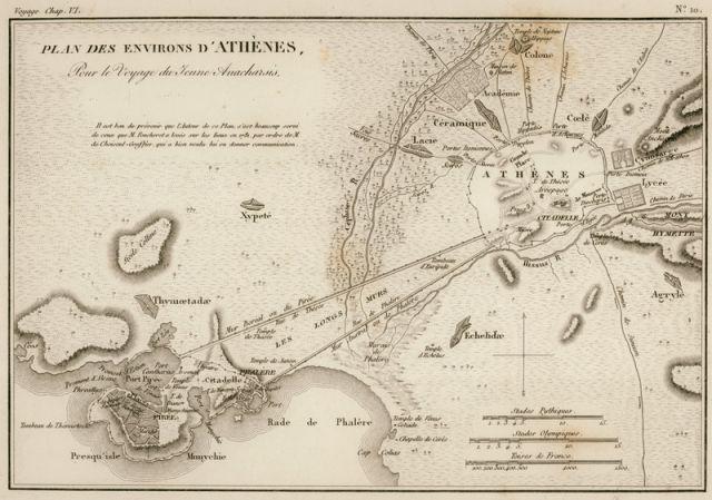 Χάρτης της αρχαίας Αθήνας και του Πειραιά. - BARTHÉLEMY, Jean Jacques - ME TO BΛΕΜΜΑ ΤΩΝ ΠΕΡΙΗΓΗΤΩΝ - Τόποι - Μνημεία - Άνθρωποι - Νοτιοανατολική Ευρώπη - Ανατολική Μεσόγειος - Ελλάδα - Μικρά Ασία - Νότιος Ιταλία, 15ος - 20ός αιώνας