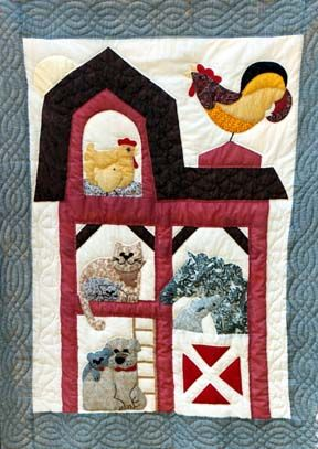 Rooster on the barn roof quilt.