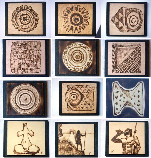 PIRARTE PIROGRABADOS: Motivos Canarios:  Pintaderas