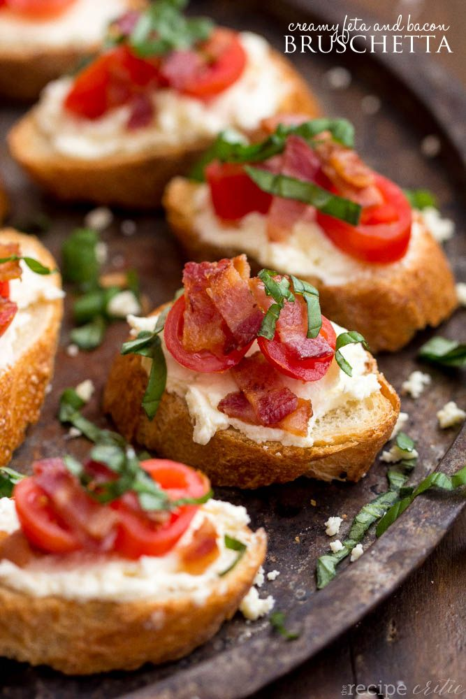 This Creamy Feta and Bacon Bruschetta is an amazing appetizer and will be the hit of any party!