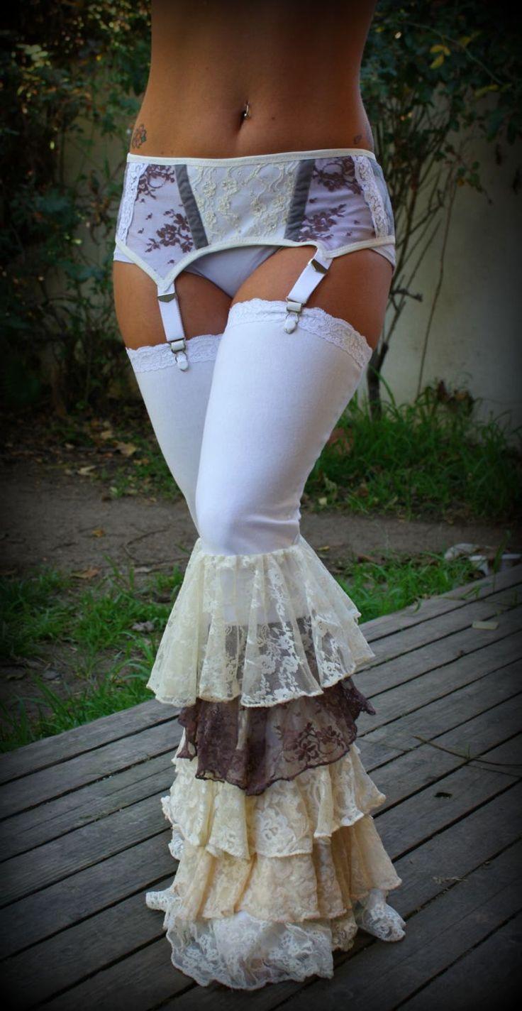 Tribal Fusion Garter Belt Victorian Whites. $40.00, via Etsy.