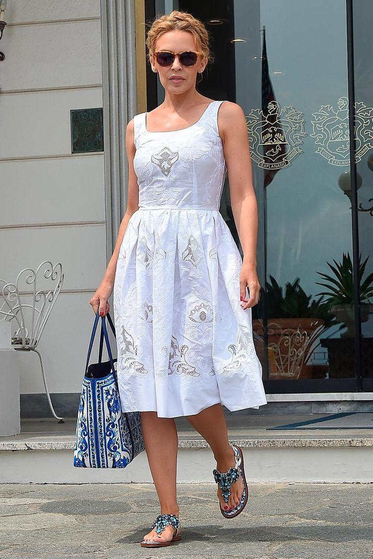 Kylie Minogue mastered Riviera-chic in Dolce&Gabbana in Portofino this week - July 13, 2015 #dgwomen